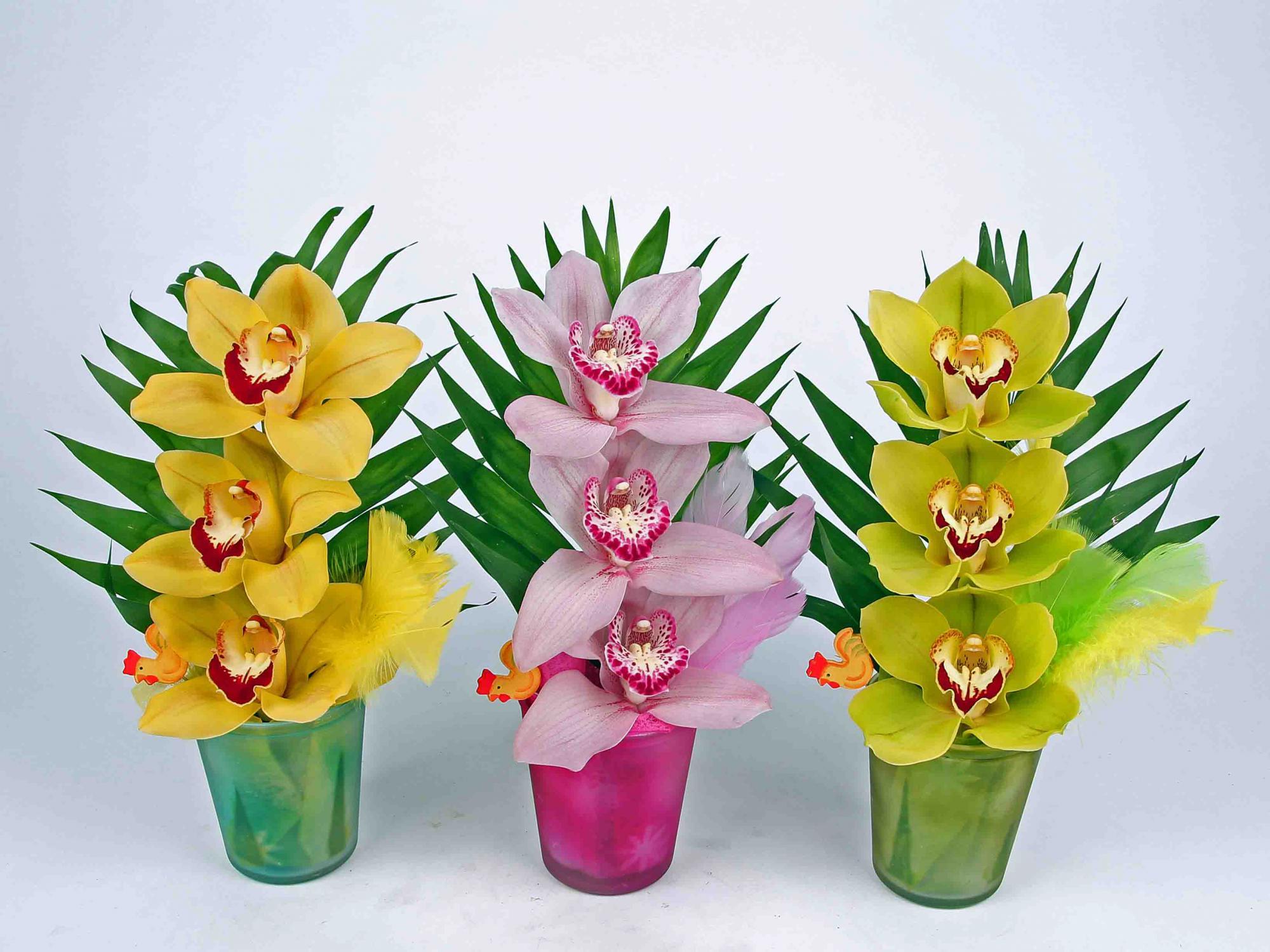 Waxine glaasje pastel met 3 orchideeën