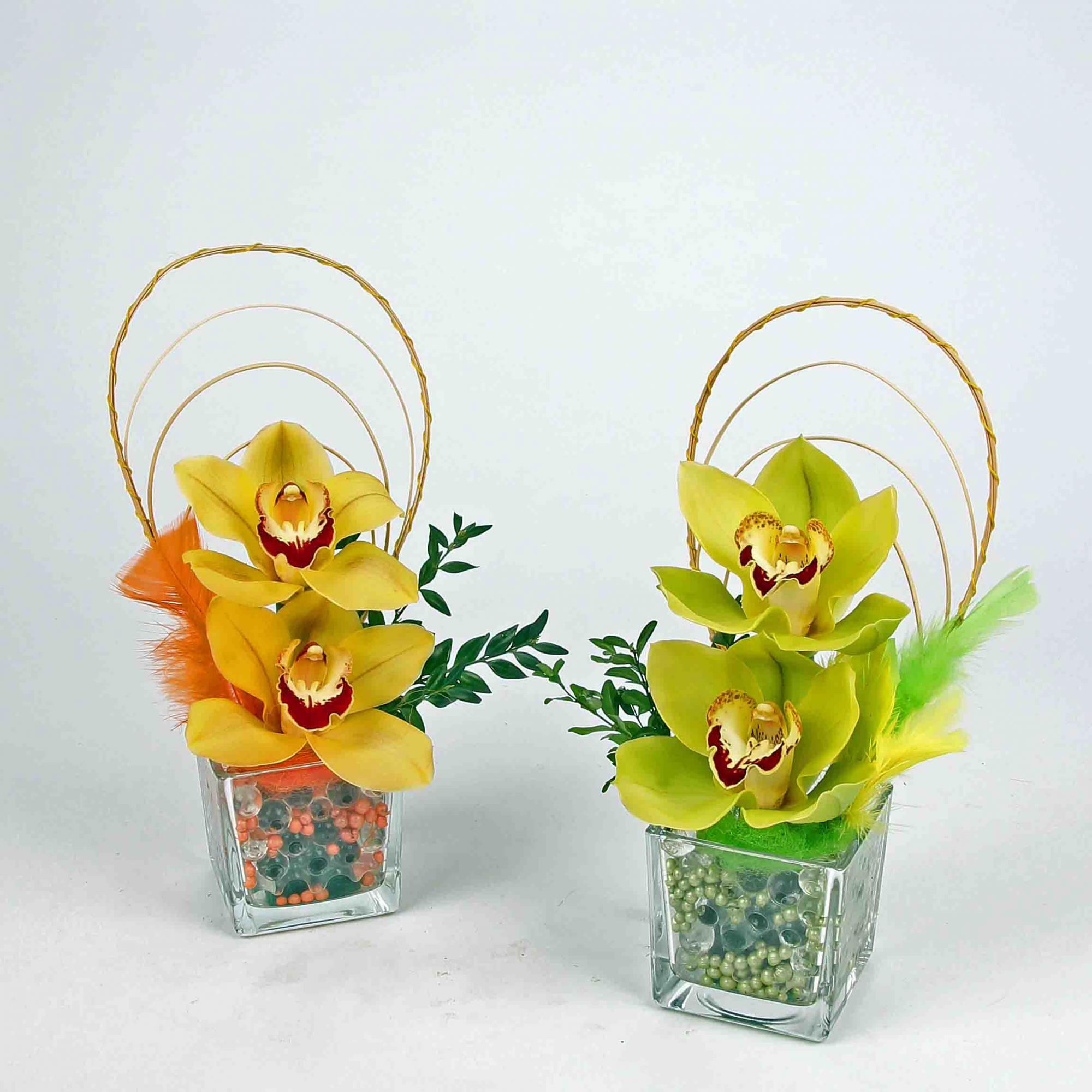 Exclusief accuglas met 2 orchideeën