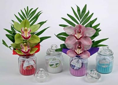Geurkaars met 2 orchideeën