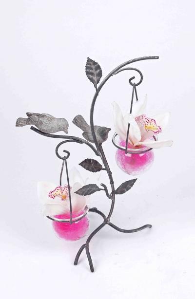 Vogel decoratie met 2 orchideeën