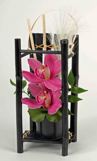 Bamboe kooi met 2 orchideeën