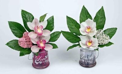 Love waxinelicht met 2 orchideeën