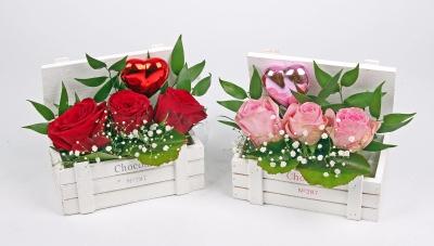 Chocobox met 3 rozen