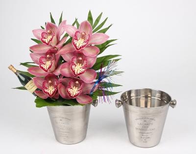 Champagne koeler met 6 orchideeën