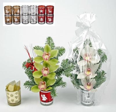 Kerst windlichtje met 3 orchideeën