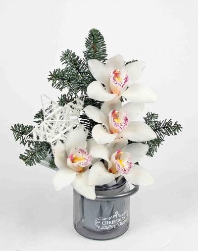 Waxinelicht christmas met 4 orchideeën