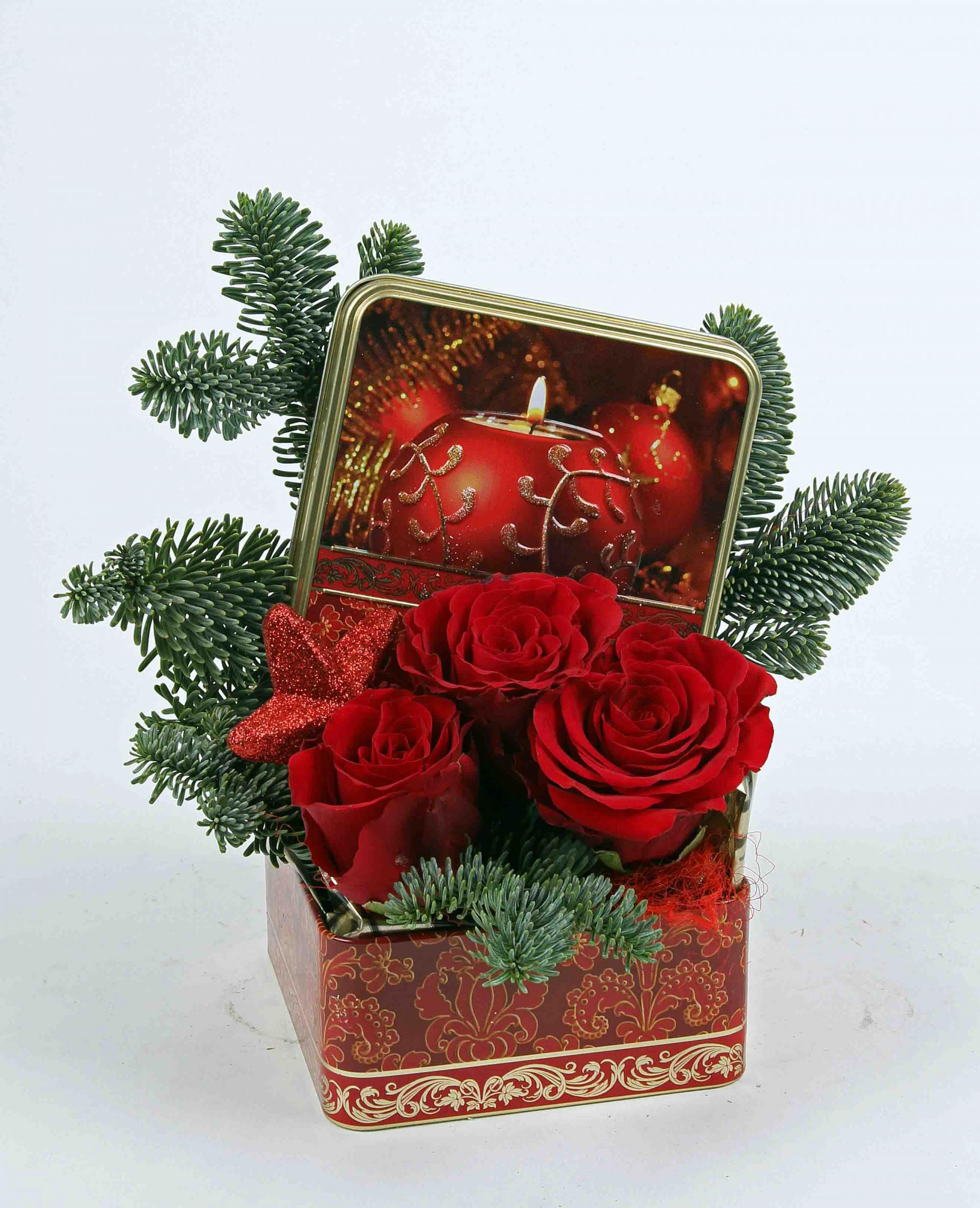 Kerst blik met 3 rozen