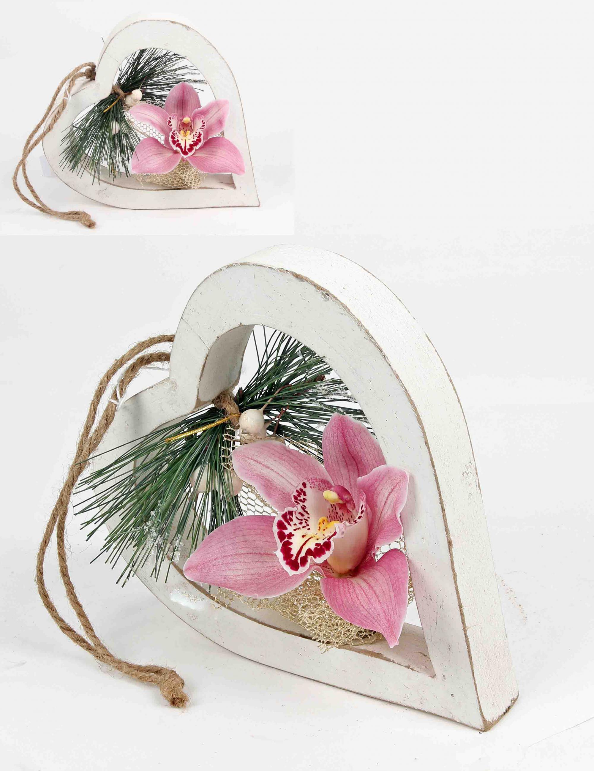 Houten hart met 1 orchidee