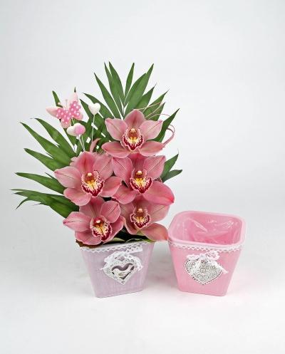 Pastel pot decoratie met 5 orchideeën