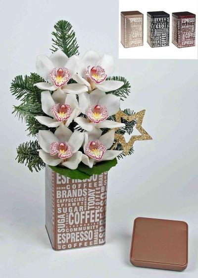 Kerst koffie blik met 6 orchideeën