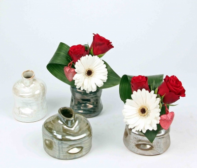 Luxe vaasje met roos en gerbera