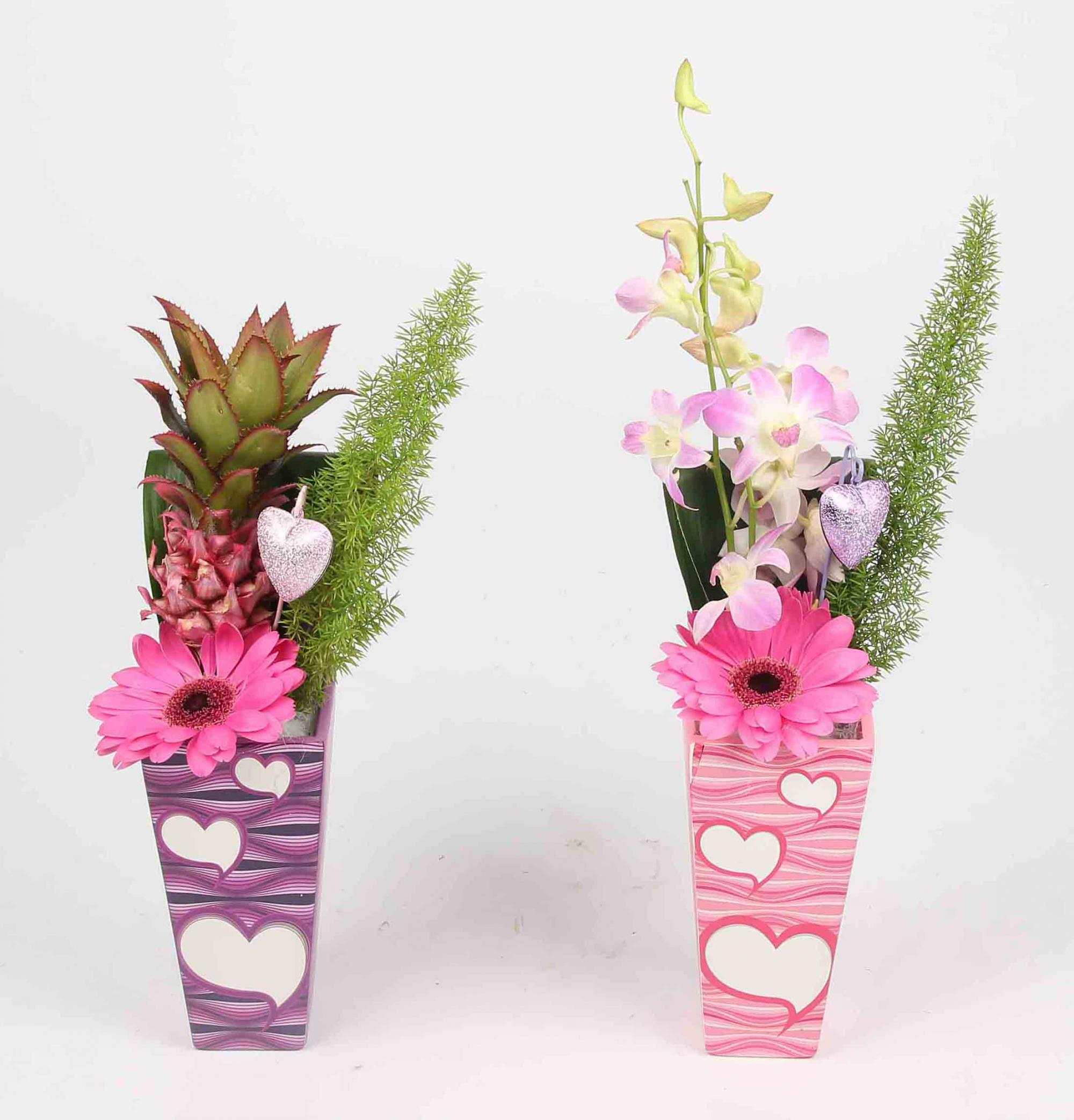 Snijblad arrangement exotisch keramische hartjes