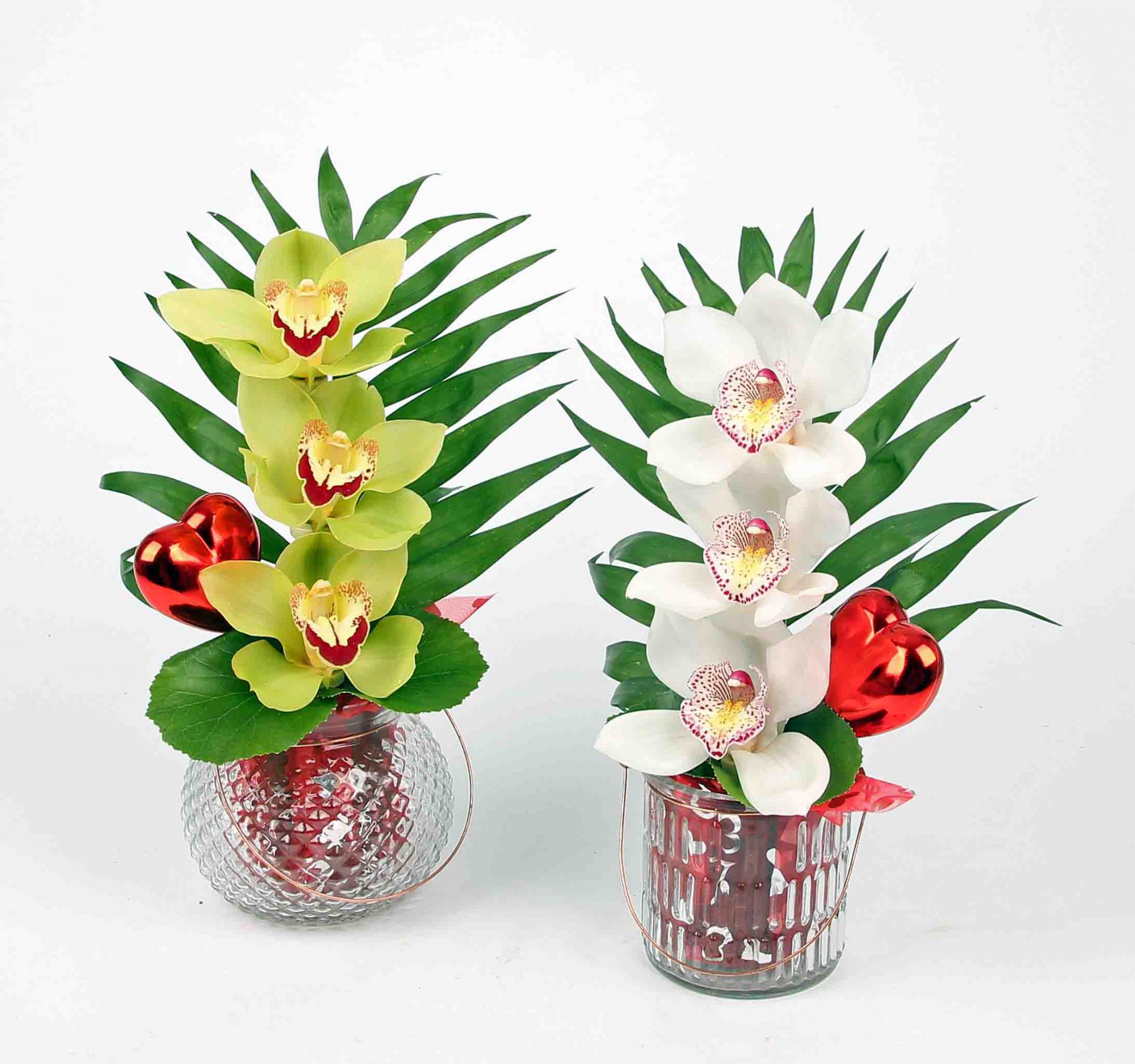 Windlichtje glas met 3 orchideeën