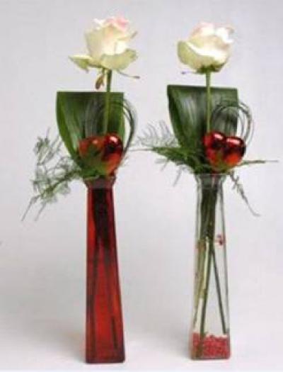 Bongo vaas hoog met wax roos